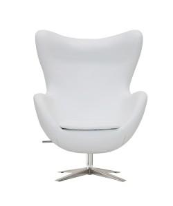 Sillón EG 66, tapizado similpiel blanco roto