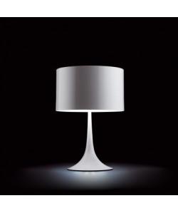 Lámpara LUGANO, sobremesa, blanca, pantalla gris claro