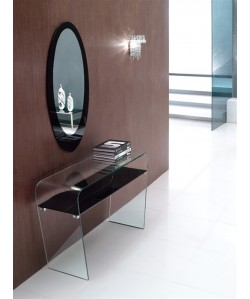 Consola LAUREN, cristal curvado, 120x40 cms - espejo incluido -