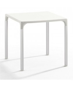 Mesa ELIANA, aluminio, polipropileno blanco 74x74 cms