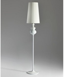 Lámpara LOUVRE, pie salón, blanca, pantalla blanca