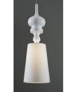 Lámpara LOUVRE, colgante, blanca, pantalla blanca