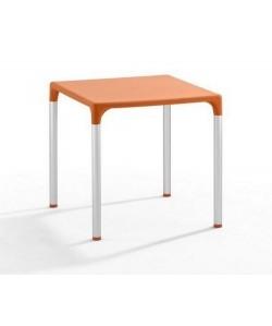 Mesa ELIANA, aluminio, polipropileno naranja 74x74 cms