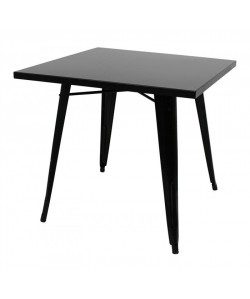 Mesa TOL, acero, negra, 80x80 cms