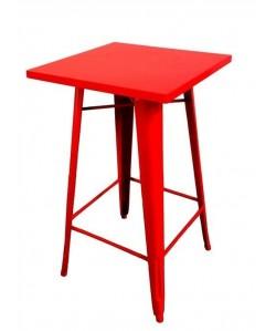 Mesa TOL, alta, acero, roja, 60x60 cms