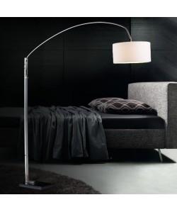 Lámpara OMEGA, pie de salón, cromada, mármol, pantalla blanca