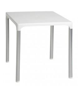 Mesa DOROTEA, aluminio, polipropileno blanco 70x70 cms
