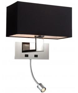 Lámpara CAROLI, aplique, cromado, pantalla negra