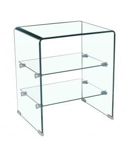 Mesa CARTAGO, cristal curvado, estantes, 50x40 cms