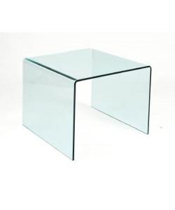 *Mesa CHEVAL, baja, cristal curvado, 60x60 cms