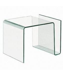 Mesa ATLANTIS, baja, cristal curvado, 61x42 cms