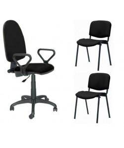 Pack PRE50, silla operativa con brazos + 2 sillas fijas - tejido A1 negro
