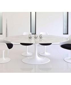 *Mesa TUL, oval, fibra de vidrio, mármol blanco 180x100 cms