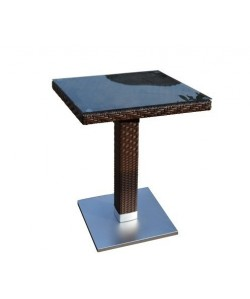 Mesa CANDICE, aluminio, ratán chocolate, 80x80 cms
