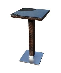 Mesa CANDICE, alta, aluminio, ratán chocolate, 60x60 cms