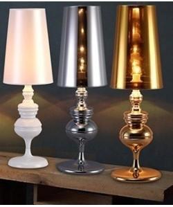 Lámpara LOUVRE PETIT, sobremesa, dorada, pantalla dorada