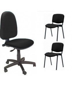 Pack PRE50, silla operativa + 2 sillas fijas - tejido A1 negro