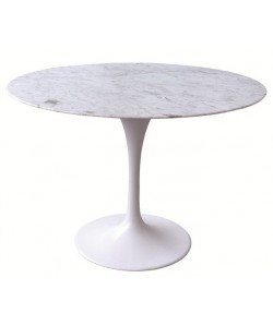 *Mesa TUL, aluminio, mármol blanco de 100 cms