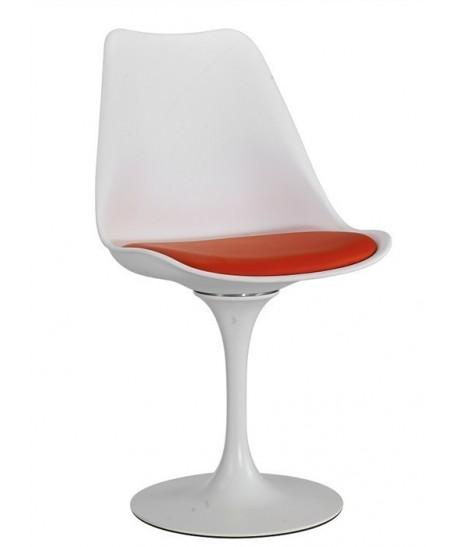 Silla TUL MT, metal, polipropileno blanco, cojín rojo