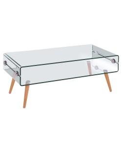 Mesa HOLANDA, madera, cristal, 110x55 cms