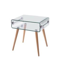 Mesa HOLANDA, madera, cristal, 55x40 cms
