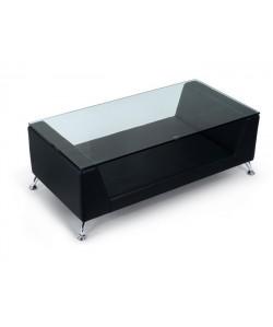 Mesa KATE, baja, cristal, negra, 120x60 cms